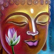 Narender Mehta Oil on Canvas Buddha-4 Sold