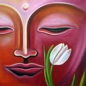 Narender Mehta Oil on Canvas Buddha-5 Sold