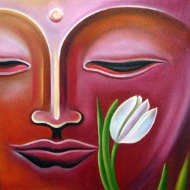 Narender Mehta Oil on Canvas Buddha-5 Sold