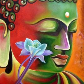 Narender Mehta Oil on Canvas Buddha-6