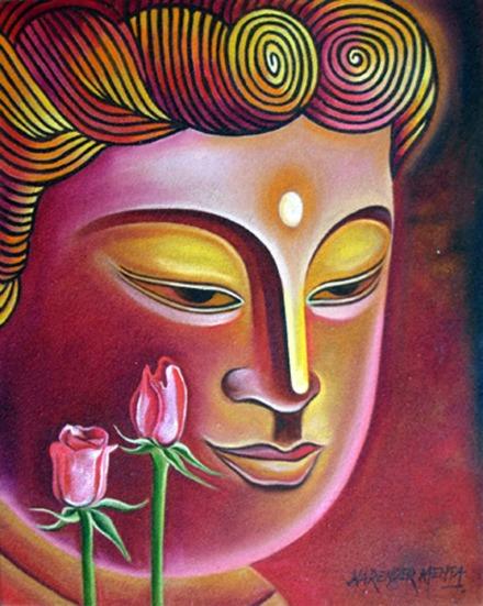 Narender Mehta Oil on Canvas Buddha-7