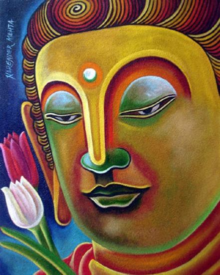 Narender Mehta Oil on Canvas Buddha-8