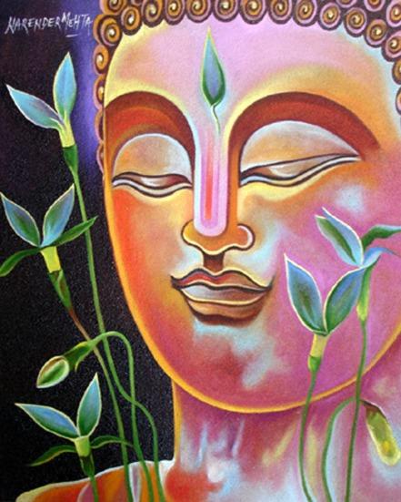 Narender Mehta Oil on Canvas Buddha-9