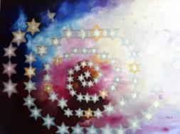 Ritu Bhatnagar Reach high, for stars lie hidden in your soul 36 x 48 Inches Oil on Canvas 2012 72K