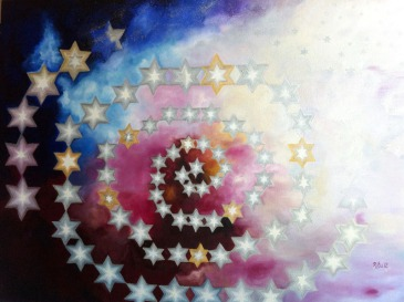 Ritu Bhatnagar Reach high, for stars lie hidden in your soul 36 x 48 Inches Oil on Canvas 2012 72K