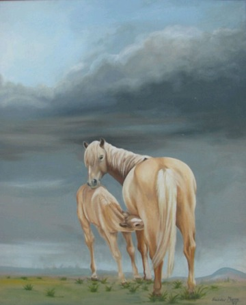 Sachdev Mann Horse Series 2 Oil on Canvas