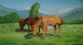 Sachdev Mann Horse Series 3 Oil on Canvas