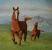 Sachdev Mann Horse Series 4 Oil on Canvas