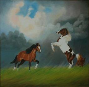 Sachdev Mann Horse Series 5 Oil on Canvas