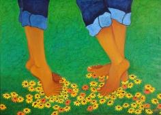 Sangeeta K Murthy Rythm of Life V Oil on Canvas 30 x 42 Inches