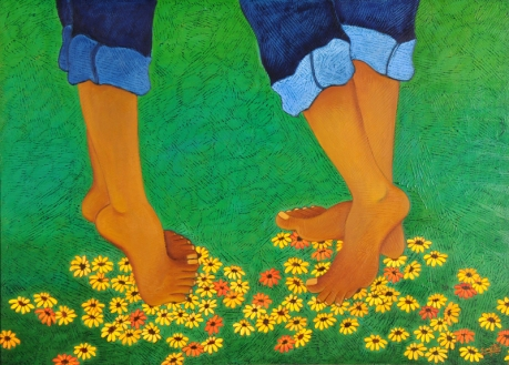 Sangeeta K Murthy Rythm of Life V Oil on Canvas 30 x 42 Inches