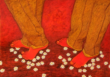 Sangeeta K Murthy Rythm of Life VIII Oil on Canvas 30 x 42 Inches