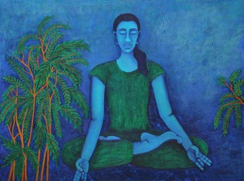Sangeeta K Murthy Tranquility 1 Oil on Canvas 36 x 48 Inches