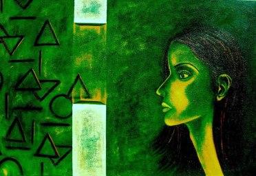 Sangeeta K Murthy Verve I Oil on Canvas 27 x 40 Inches