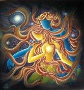 Sudha R Sama Dancers Oil on Canvas 36 x 36 Inches 40K