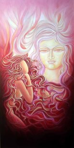Sudha R Sama Inner Vision Acrylic on Canvas 24 x 48 Inches