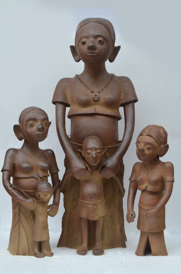 G Reghu Mother with children Ceramic 36 x 30 x 20 Inches