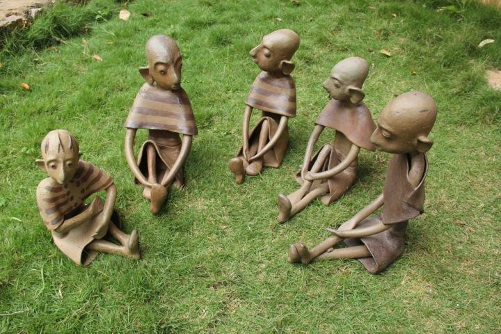 G Reghu Village Gathering Ceramic 12 x 10 x 8 Inches