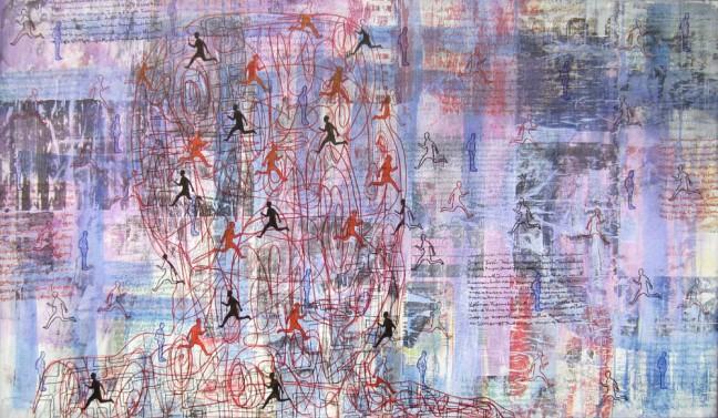 Maneesh Mandoliya Urban Existence mix media on canvas 140 x 100 cm