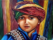 Anju Kulchania Rajasthani Boy Oil on Canvas 12x24 Inches 5K