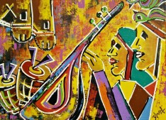 Ghazal Alagh Life in Pairs 2 Acrylic on canvas 36x48 Inches 2015 75K