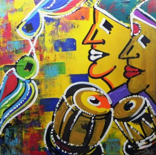 Ghazal Alagh Life in Pairs 9 Acrylic on Canvas 24x24 Inches 2015 40K