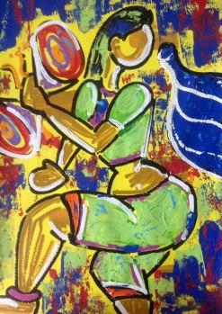 Ghazal Alagh Symphony in Devotion 1 Acrylic on Canvas 30x22 Inches 2015 35K