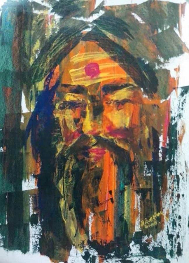 Girija Shanker Acrylic on Paper 15x18 Inches