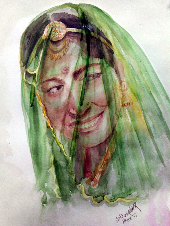 Girija Shanker Ghungat-5 Water Colour