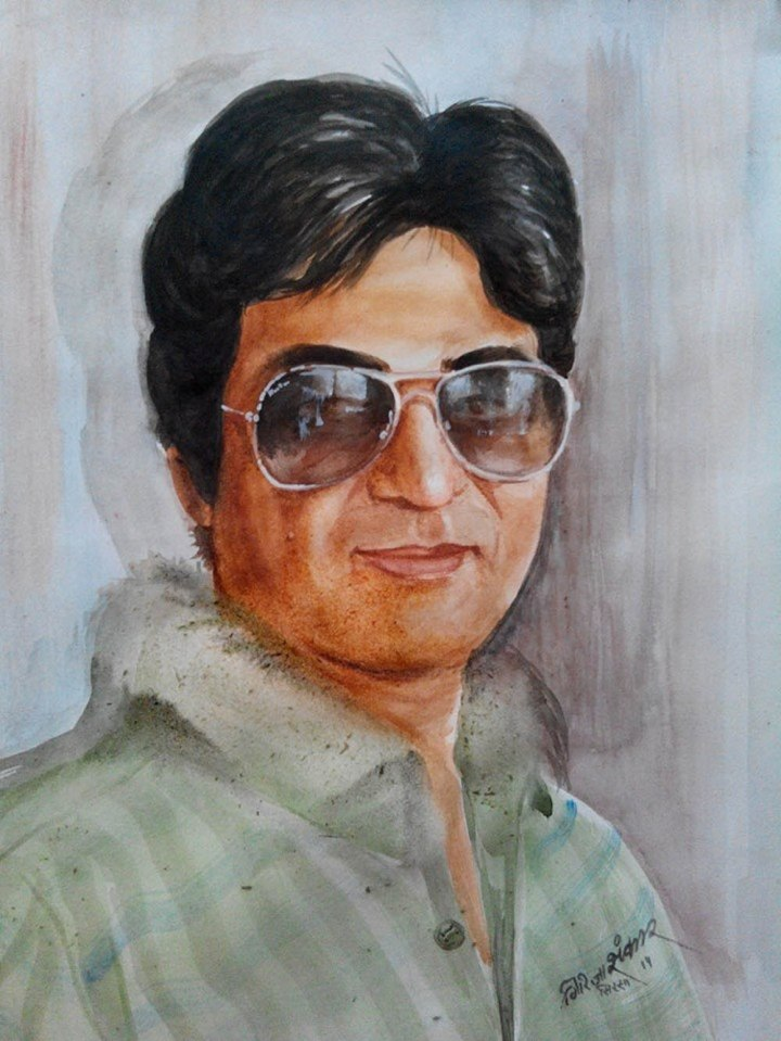 Girija Shanker Portrait 1 Water Color on Paper