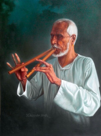 H Mohinder Singh Algoze Player Oil on Canvas 32x24 Inches 35K