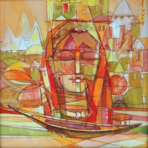 Ishwar Gupta Portrait of Varanasi Acrylic on Canvas 10K