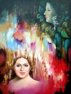 Pawan Julana Compare Oil on Canvas 40x30 Inches 40K