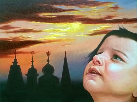 Rajpal Kalia Sabka Maalik Ek Oil on Canvas 21x28 Inches Sold