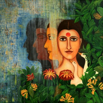 Shraboni Banerji Evolution Oil on Canvas 36x36 Inches 30K