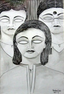 Vandana Zadoo Friends Pen & Poster Color on Paper 24x18 Inches 12K