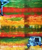 Pankaj Kumar Saxena The Meeting Acrylic on Canvas 76X92 cms