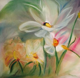 Urvashi Sharma Blooming Oil on Canvas 24x24 Inches