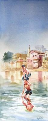 Vikrant Dattatreya Shitole Banganga Water Color 10x22 Inches INR 25000