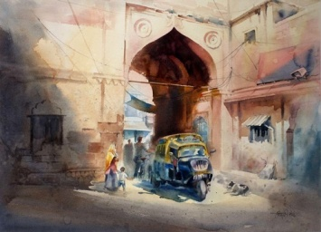 Vikrant Dattatreya Shitole Chand pole Water Color 30x22 Inches INR 70000