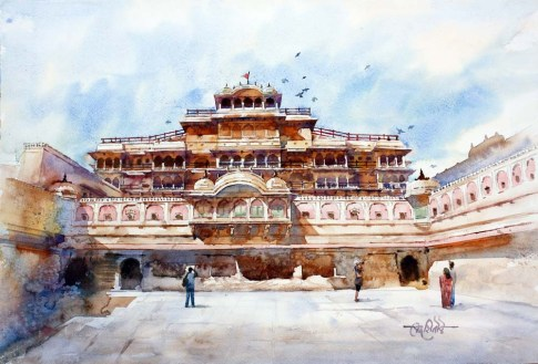 Vikrant Dattatreya Shitole City of palace Water Color 22x15 Inches INR 30000