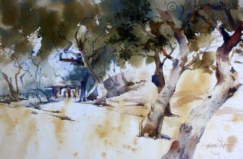 Vikrant Dattatreya Shitole Gharapuri greens Water Color 22x15 Inches INR 25000