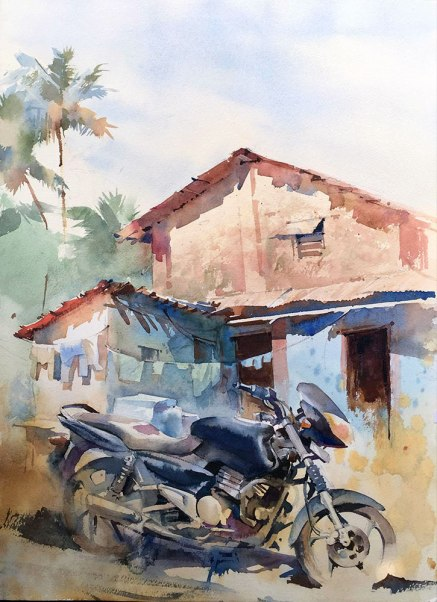 Vikrant Dattatreya Shitole Ride of Pride Water Color 15x22 Inches INR 30000