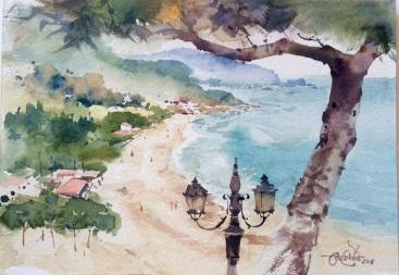 Vikrant Dattatreya Shitole Sperlonga 02 Water Color 10x7 Inches INR 8000