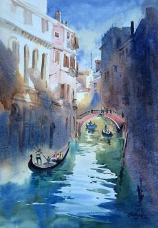 Vikrant Dattatreya Shitole Venice 03 Water Color 15x21 Inches INR 25000