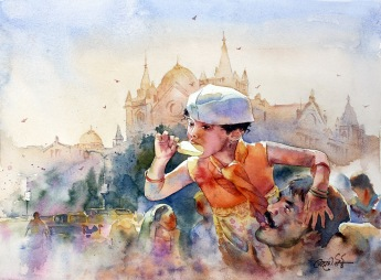 Vikrant Dattatreya Shitole Warm Sun Warmer love Water Color 15x11 Inches INR 20000
