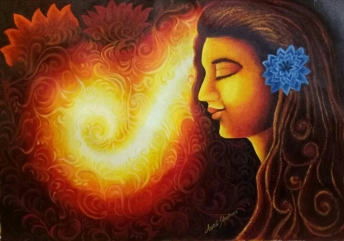 Aarti Sharma Divine Soul Oil on Canvas 21 x 32 Inches