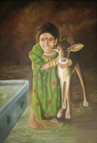 Anu Kalra Khilta Bachpan Oil on Canvas 36 x 24 Inches