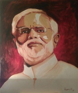 Aseem Aggawral Portrait Oil on Canvas 24 x 20 Inches