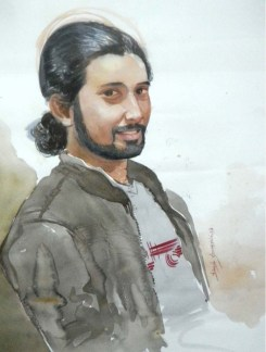 Dinesh Shringirishi Shreejesh's Portrait Water Colour on Paper 28 x 22 Inches